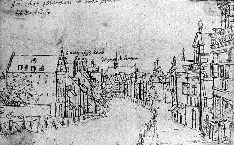 De Boschstraat vanuit het noorden (tekening Valentijn Klotz, 1669) aus Wikipedia